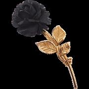 Vintage Van Dell Gold Filled Carved Ebony Black Rose Brooch