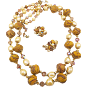 Vintage Vendome Brown Swirled Sugar Beads, Faux Pearls, Crystals Double Strand Necklace Set