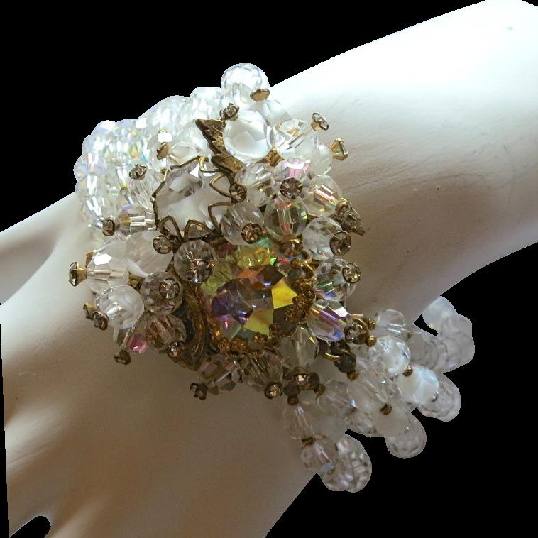 Vendome Givre & Austrian Crystal Beads & Rhinestone Bracelet