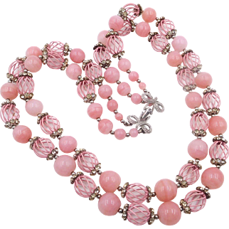 Vintage Vendome Cotton Candy Pink Beads Rhinestone Double Strand Necklace
