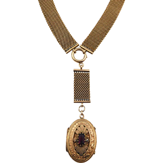 Antique Victorian Gold Plated Mesh Link Locket Necklace