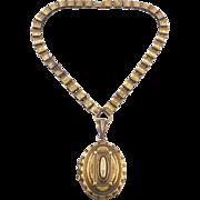 Vintage Victorian Revival Brass Locket Necklace