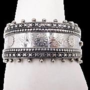 Antique Victorian Birmingham Sterling Hinged Bracelet 1885 Aesthetic Movement