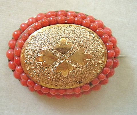 Antique Victorian rolled gold brooch with coral beads