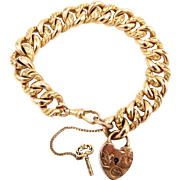 Victorian GF Chased Curb Link Bracelet with Heart Lock J.F.S.S.