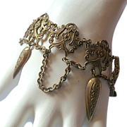 Victorian Ornate Brass Dangles Bracelet