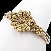 Victorian 10K YG Diamond Seed Pearl Bangle Bracelet