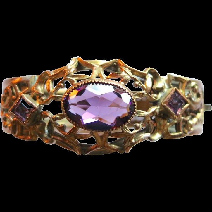 Vintage Victorian Revival Faux Amethyst Hinged Bracelet