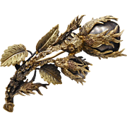 RESERVED!!!!   Antique Victorian Edwardian Sterling Vermeil Black Wild Rose Mourning Brooch