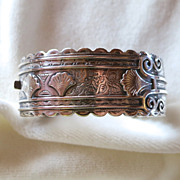 Victorian Birmingham Sterling Aesthetic Movement Hinged Bracelet