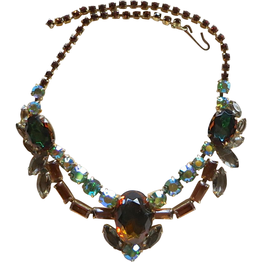 "Impressive Vitrail (Watermelon), Topaz, and ""Black Diamond"" Grey Rhinestone Necklace"