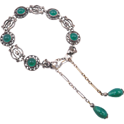 Vintage Green Cabochons Weighted Gravity Chain Closure Bracelet