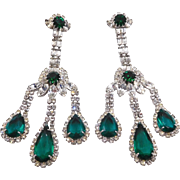 Vintage Weiss Emerald Green Clear Rhinestone Chandelier Clip Earrings