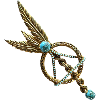Vintage 1940's Faux Turquoise Rhinestone Golden Feathers Brooch with Art Glass Beads