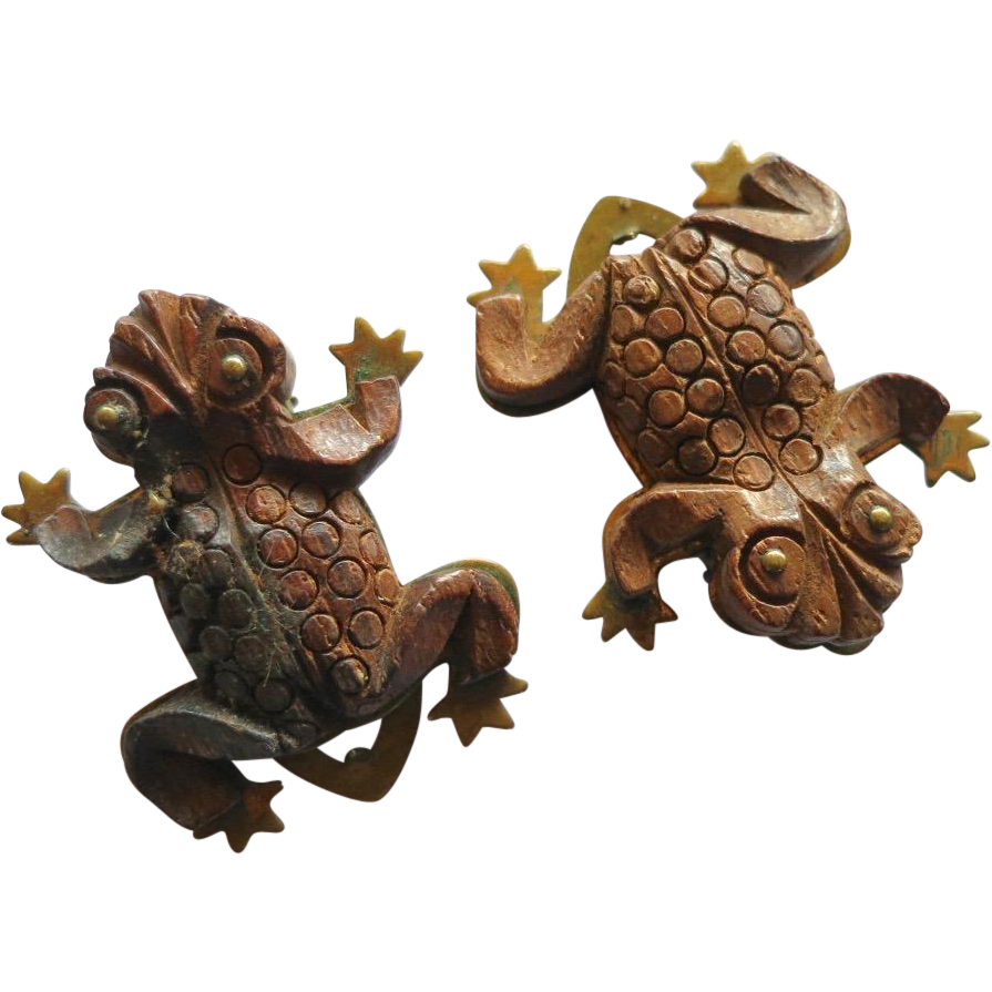 Vintage Figural Wooden Frog Dress Clips