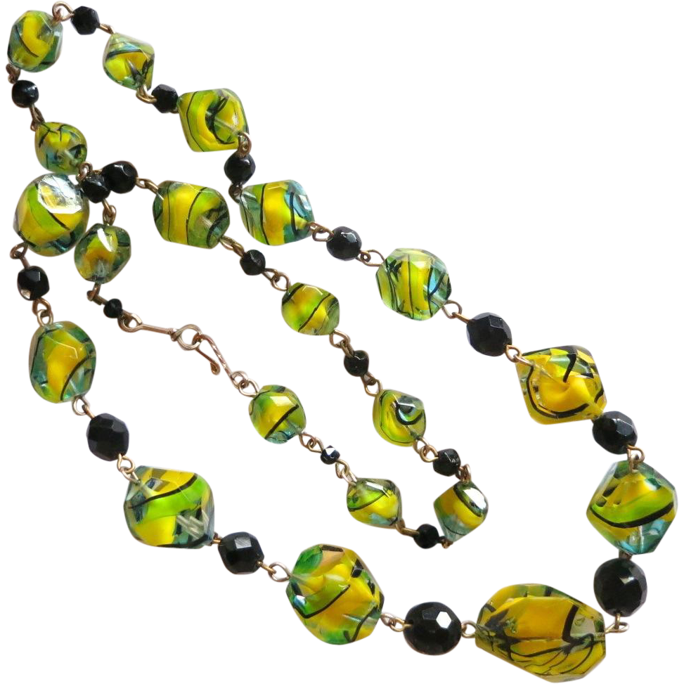 Vibrant Yellow, Green & Black Art Glass Beads Necklace