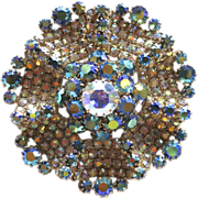 Glittering AB Rhinestone Pinwheel Brooch
