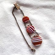 Antique Victorian Banded Agate Watch Fob JMF & Co