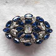 Deep blue and clear navette rhinestone Czech brooch