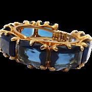 Vintage Chunky Midnight Blue Glass Clamper Bracelet