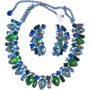 Vintage Blue & Green Rhinestone Necklace Set - Ocean Colors