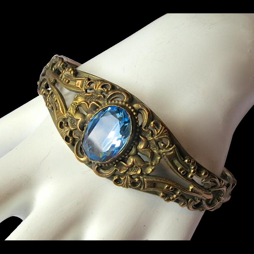 Victorian Revival Faux Blue Topaz Hinged Bracelet
