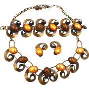 Vintage Brass Necklace Bracelet Earrings Set with Pearly Orange and Glitter Cabochons