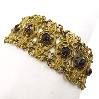 Vintage Brass Faux Amethyst Purple Glass Jewels Bracelet