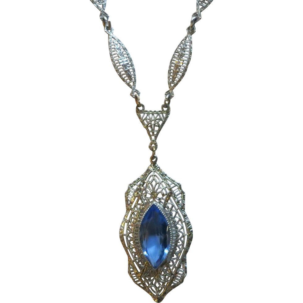Art Deco Chromium Filigree & Blue Glass Pendant Necklace