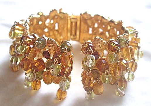 Chunky crystal dangles and rhinestone clamper bracelet