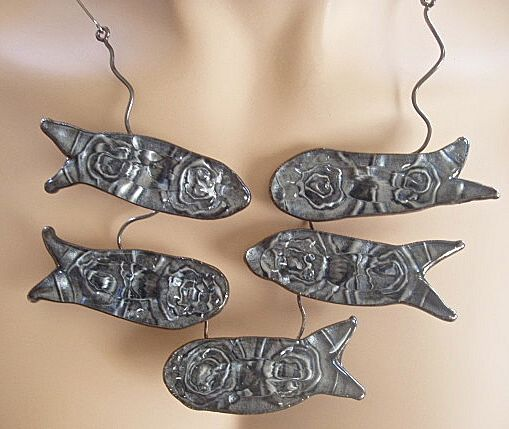 Artisan made silvered glass fish necklace ~ unique!