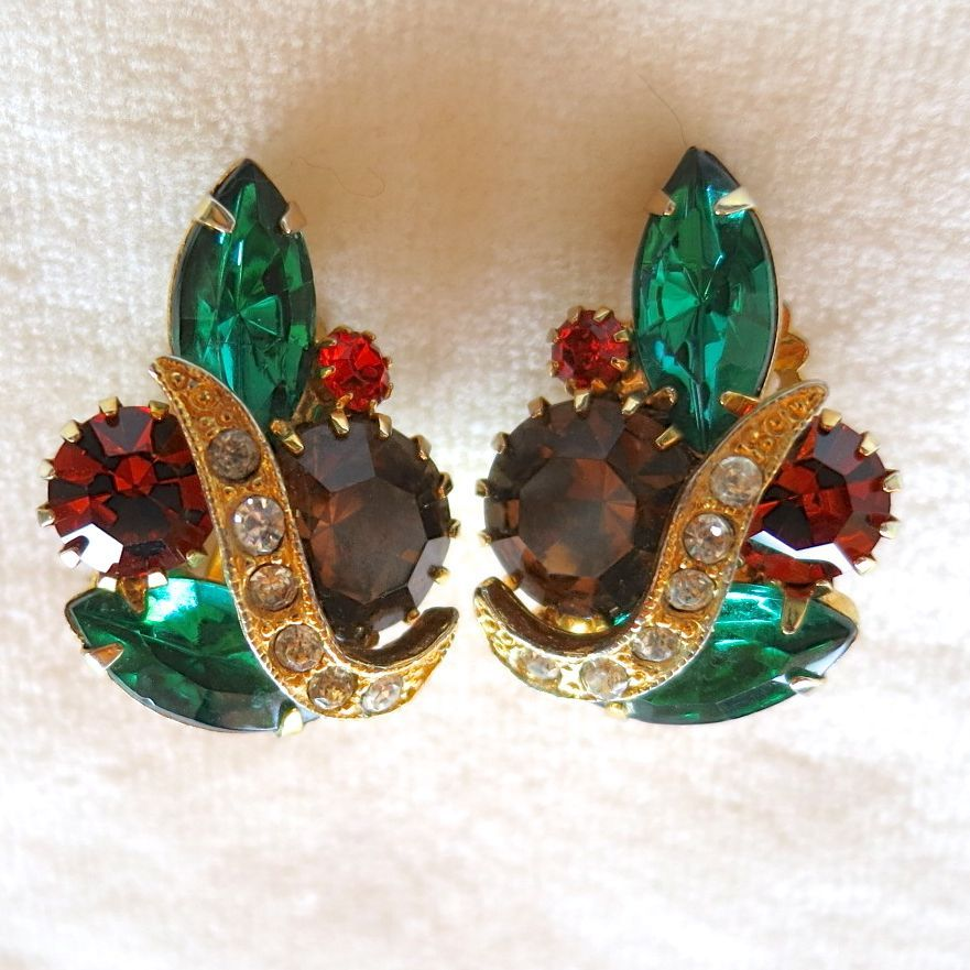 Emerald green, topaz, hyacinth rhinestone clip earrings