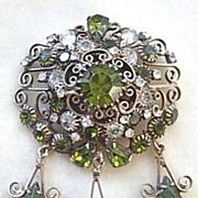 Vintage Ornate Hobe filigree dangles brooch with olivine and clear rhinestones