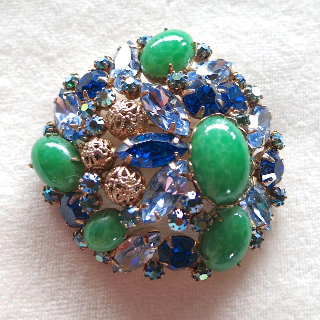 D&E Juliana Faux Jade, Filigree Balls, and Blue Rhinestone Brooch