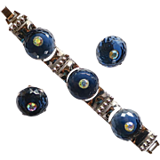 Large Faceted Blue Rhinestone Bracelet Set Book Piece!
