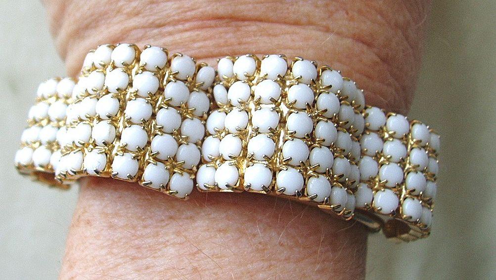 Vintage white milk glass rhinestone clamper bracelet