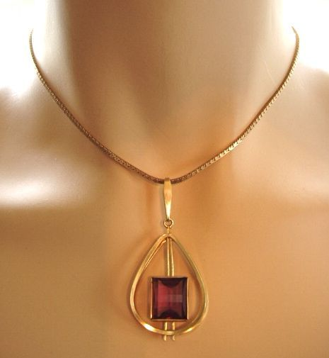 Modernist faux amethyst fancy cut pendant Germany