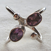 Atomic Sterling Silver Amethyst Ring