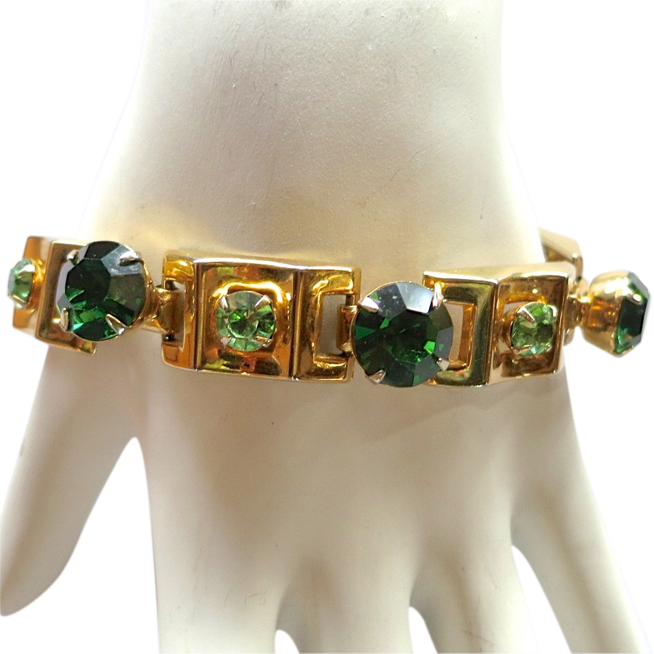 Modernist style green rhinestone bracelet