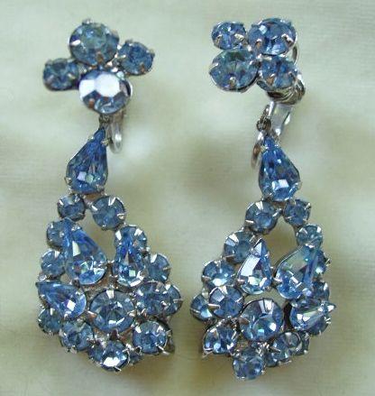Pale blue rhinestone dangle clip earrings