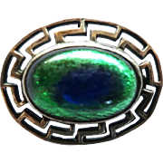 Vintage Art Deco Era Sterling Peacock Eye Pin