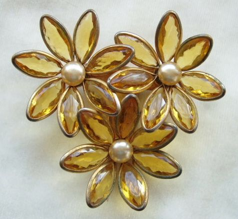 Vintage amber poured glass and faux pearl floral fur clip