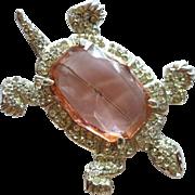 1940's Large Rhinestone Turtle Brooch Pink Crystal Body