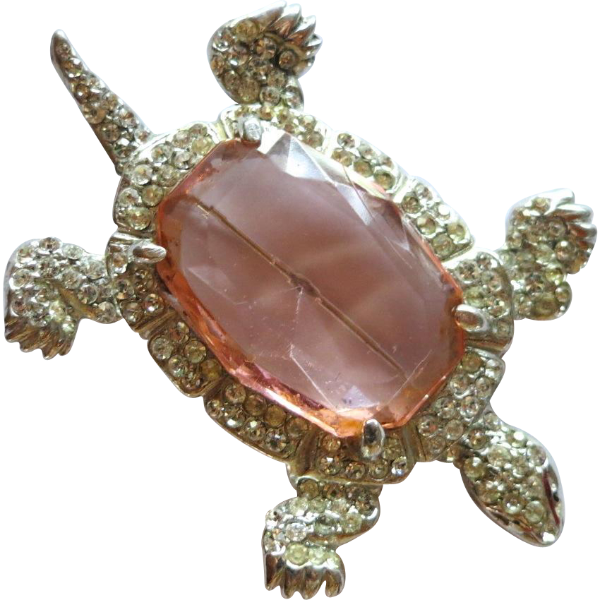 1940's Large Rhinestone Turtle Brooch Pink Crystal Body
