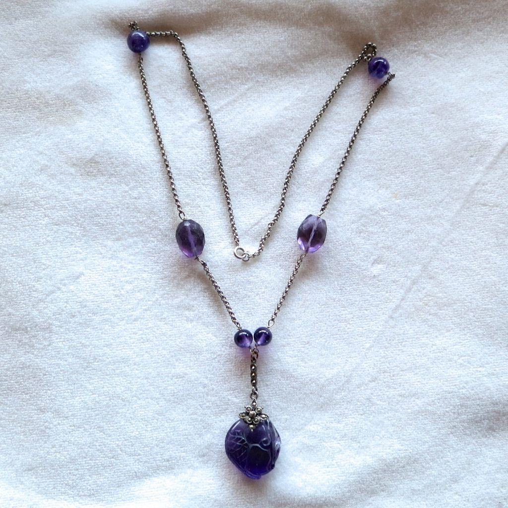 Vintage sterling & carved amethyst pendant necklace