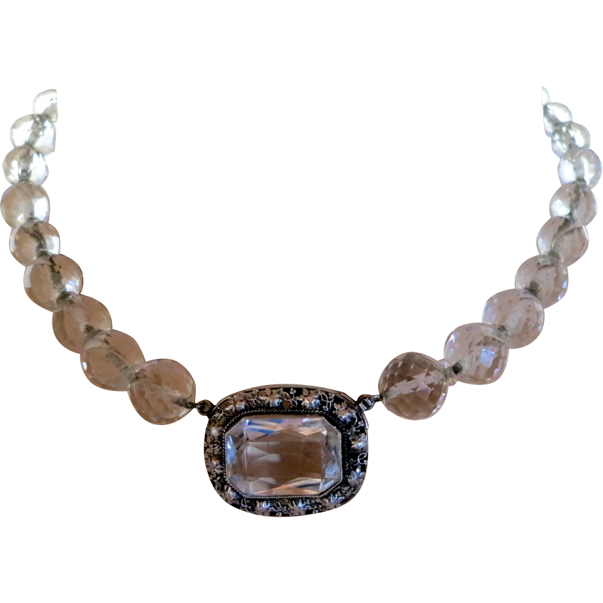 Germany Sterling & Faceted Clear Crystal Beads Necklace