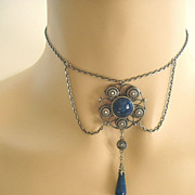 Art nouveau sterling & faux lapis dangle festoon necklace