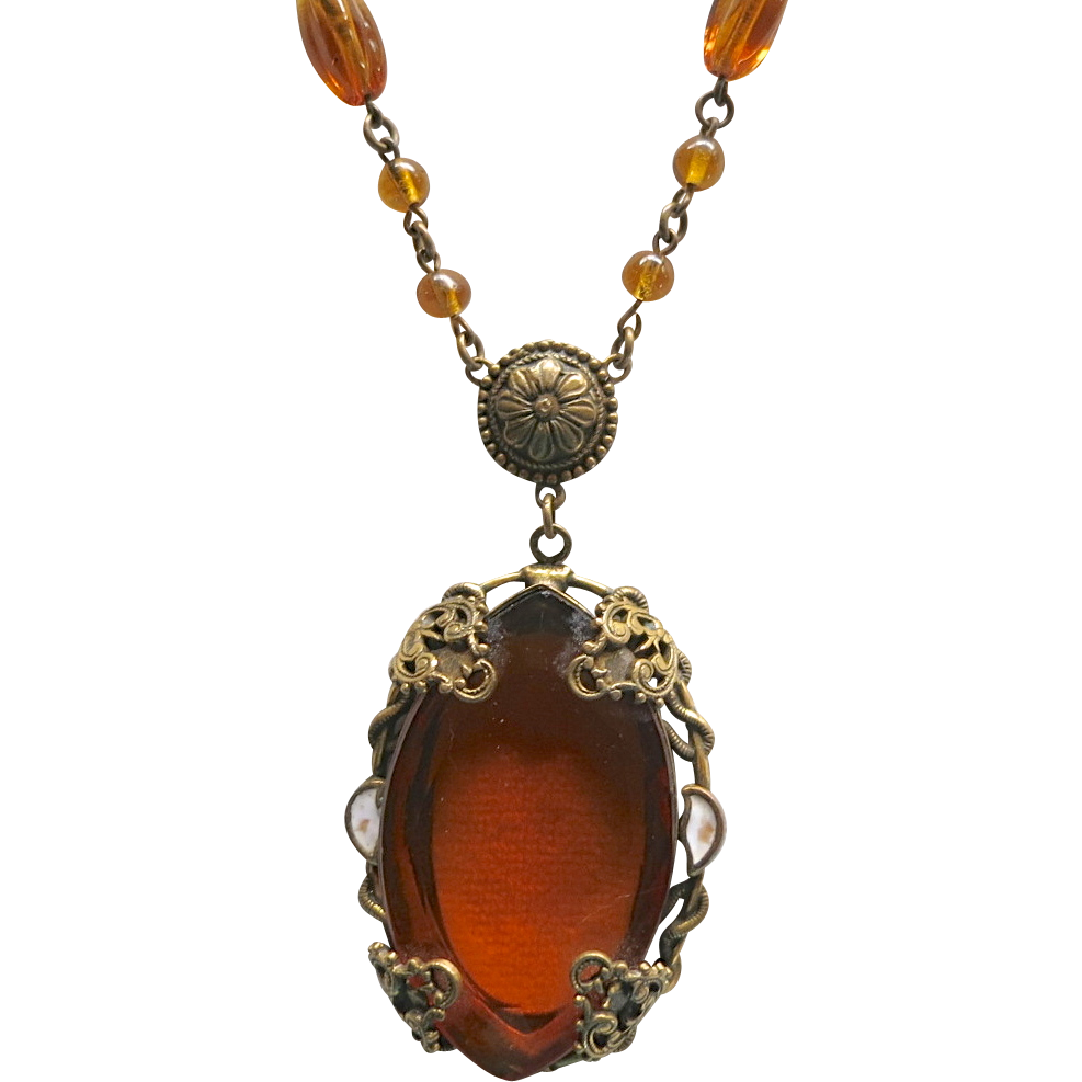 Czech Faux Topaz Crystal Bead & Enamel Necklace
