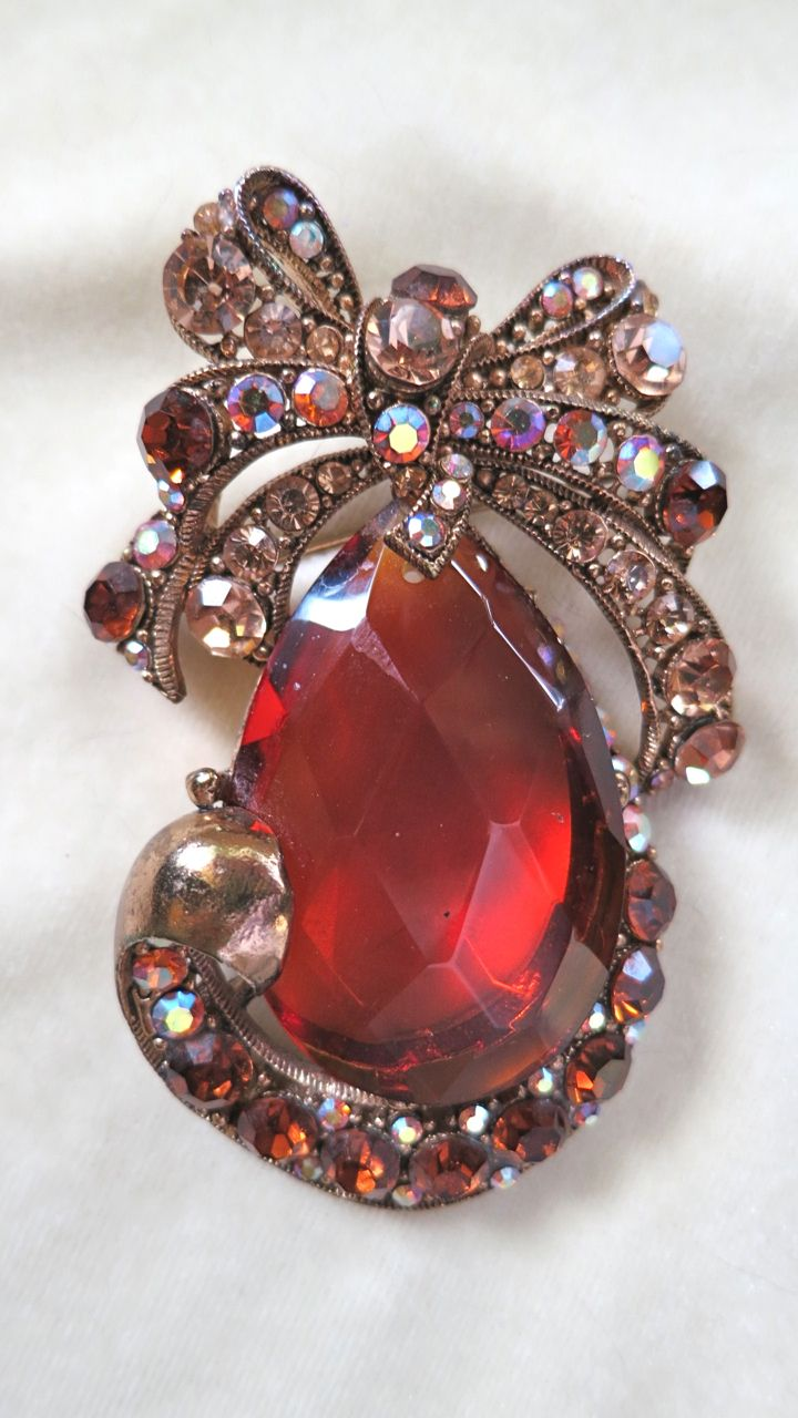 Large topaz and AB rhinestone pin pendant