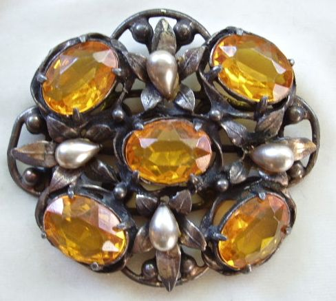 Large faux pearl and topaz rhinestone sash pin